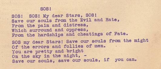 """Laiško fragmentas: eilėraščio """"SOS!"""" vertimą į anglų kalbą"""