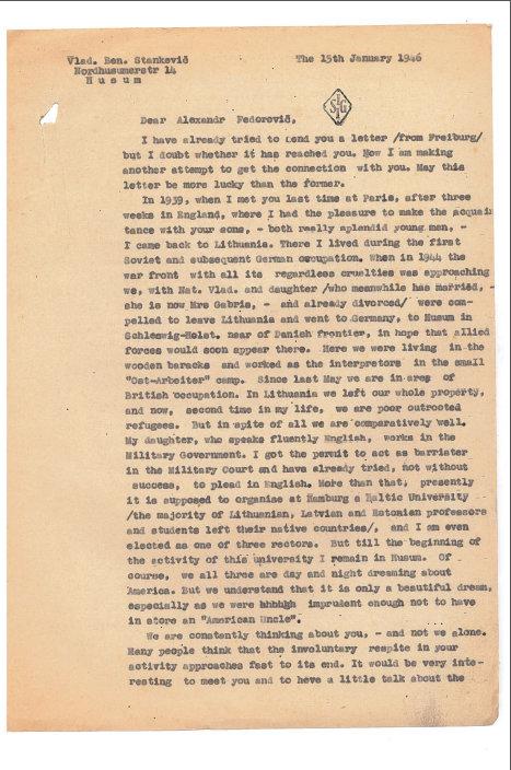 Prof. Vlado Stankos laiško Aleksandrui Fedorovičiui Kerenskiui fragmentas , 1946 m.
