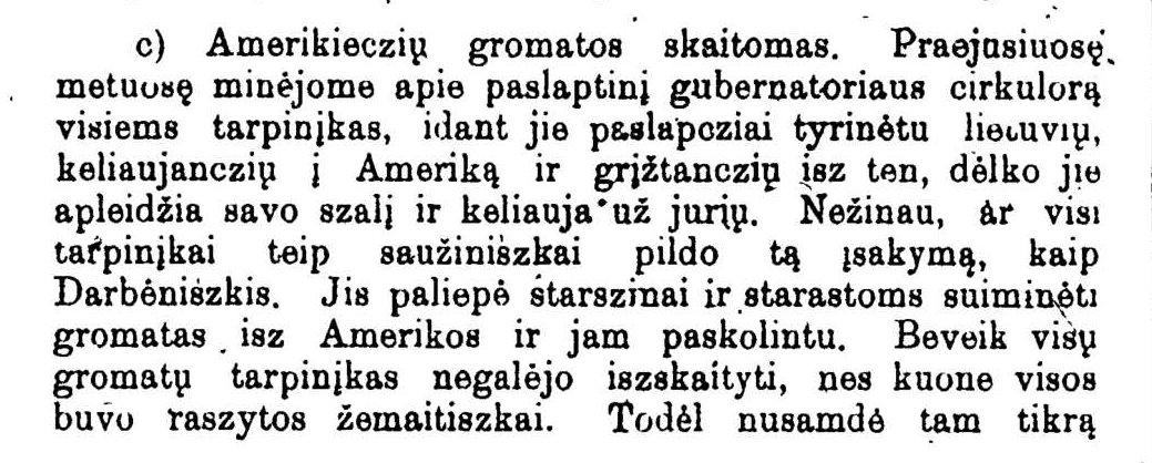 """Ulickas, J. """"Amerikiečių gromatos skaitomos"""". Senelis. Tėvynės sargas, 1900, nr. 4/5, p. 96"""