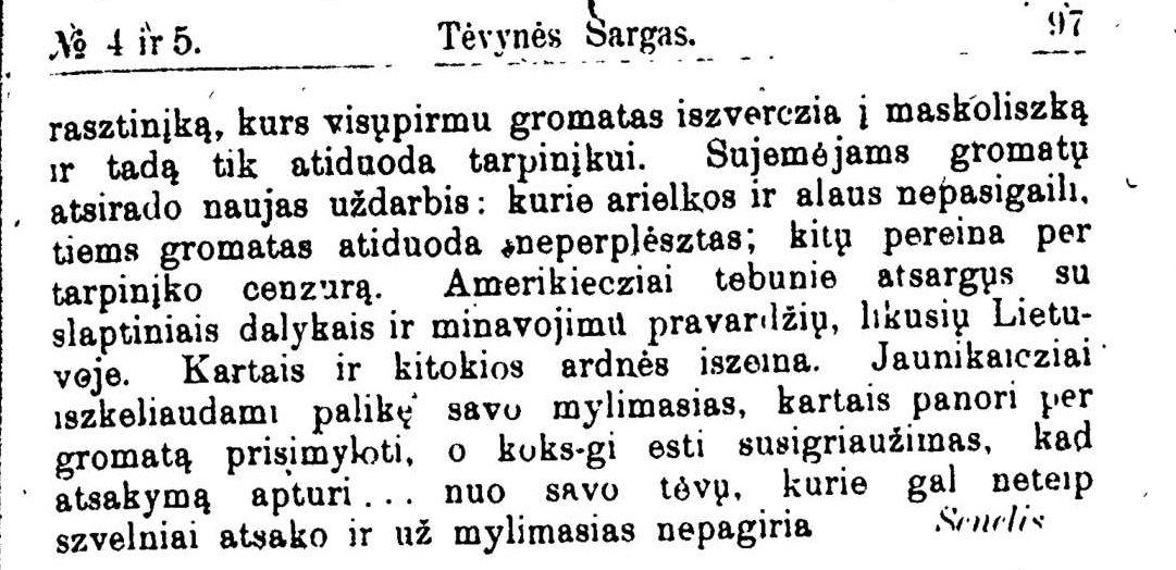"""Ulickas, J. """"Amerikiečių gromatos skaitomos"""". Senelis. Tėvynės sargas, 1900, nr. 4/5, p. 97"""